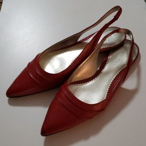 Nine West Red Sandingo Slingback Flats 9.5